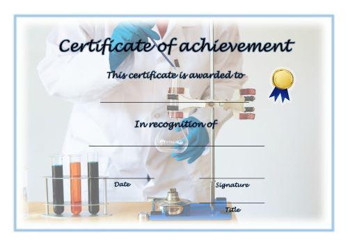 Certificate of Achievement - A4 Landscape - Science