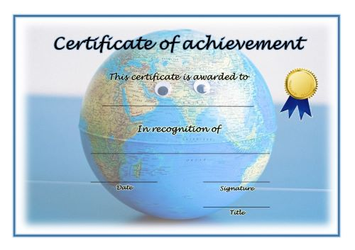 Certificate of Achievement - A4 Landscape - Geography 1