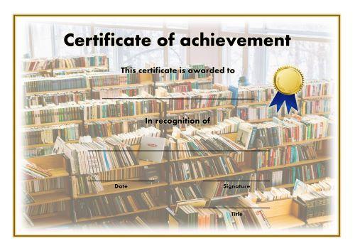 Certificate of Achievement - A4 Landscape - Reading