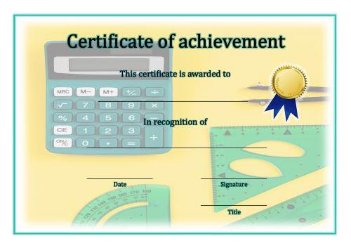 Certificate of Achievement - A4 Landscape - Math 1