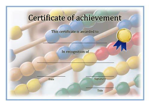 Certificate of Achievement - A4 Landscape - Math 2