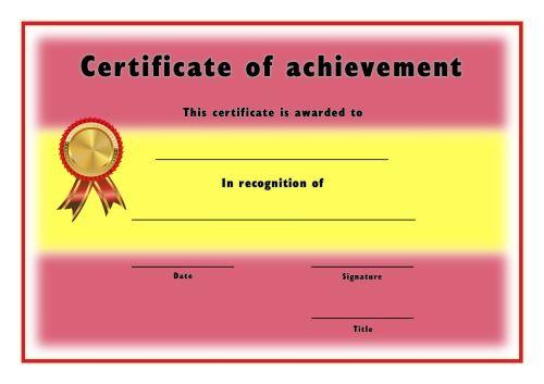 Certificate of Achievement - A4 Landscape - Spanish 2