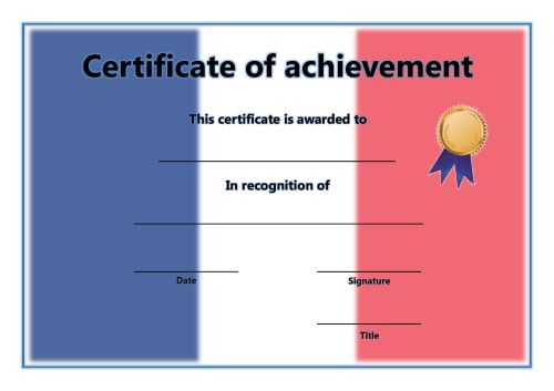Certificate of Achievement - A4 Landscape - French 2