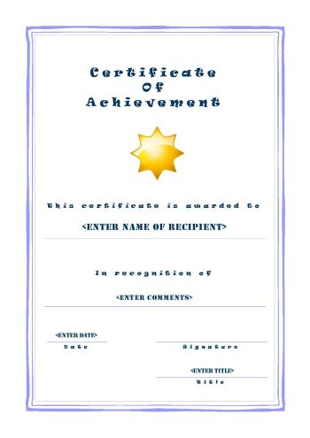Free Printable Certificates of Achievement - A4 Portrait - Casual