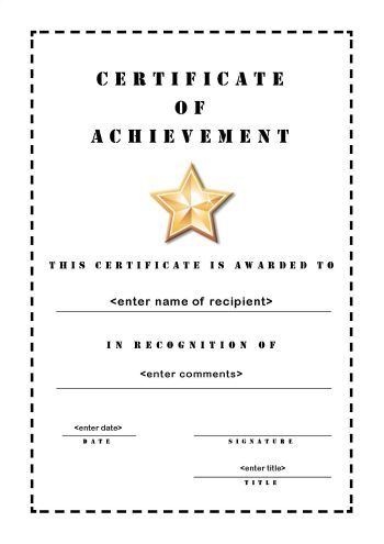 Free Printable Certificates Of Achievement   A4 Portrait   Stencil  Free Achievement Certificates