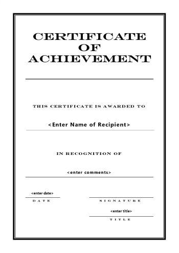 Certificate of Achievement 104 - A4 Portrait - Engraved