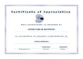 Certificate of Appreciation - A4 Landscape - Casual