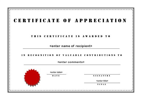 Free Printable Certificates of Appreciation – Thank You Certificate Wording