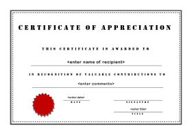 Free printable certificates of appreciation certificate of appreciation a4 landscape stencil yelopaper Image collections