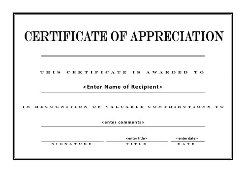 Free Printable Certificates of Appreciation – Sample Printable Certificate Template
