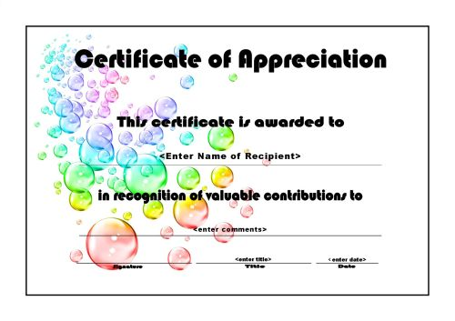 Certificate Of Achievement 006   A4 Landscape   Bubbles  Certificate Of Appreciation Word Template