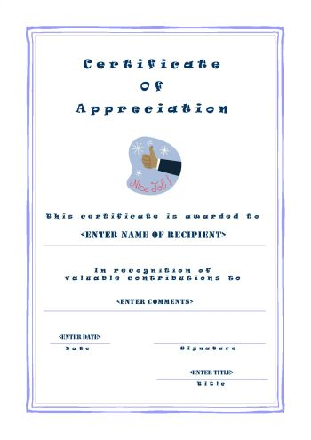 certificate of appreciation a4 portrait casual