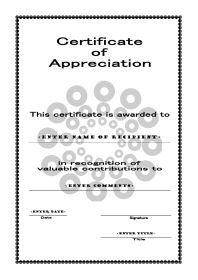 Certificates of Appreciation - A4 Portrait