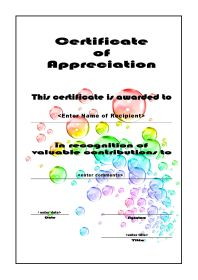 Certificate of Appreciation - A4 Portrait - Bubbles