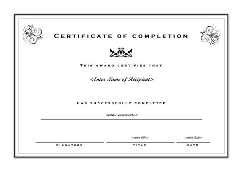 template certificate of completion Template – Microsoft Word Template Certificate