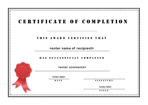 certificate of completion Event U