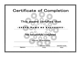 Free Cetificate Template Of Completion   A4 Landscape   Circles  Certificates Of Completion Templates