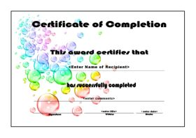 Free Cetificate Template Of Completion   A4 Landscape   Bubbles  Certificates Of Completion Templates