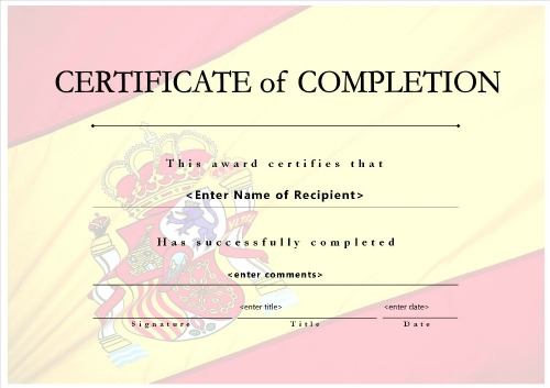 microsoft word certificate completion templates