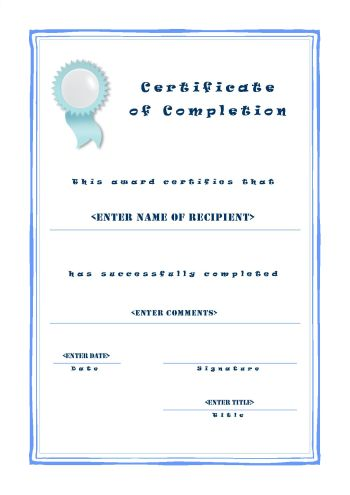 Free Certificate Template Of Completion   A4 Portrait   Casual  Certificate Of Completion Free Template