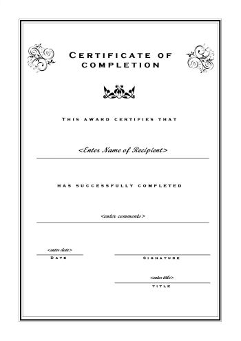 Certificate of Completion 102 - A4 Portrait - Formal