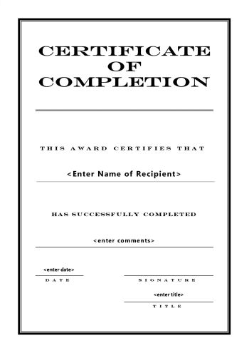 Certificate of Completion 104 - A4 Portrait - Engraved