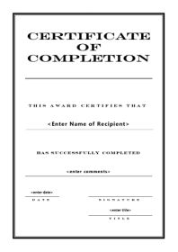 Free Certificate Template of Completion - A4 Portrait - Engraved