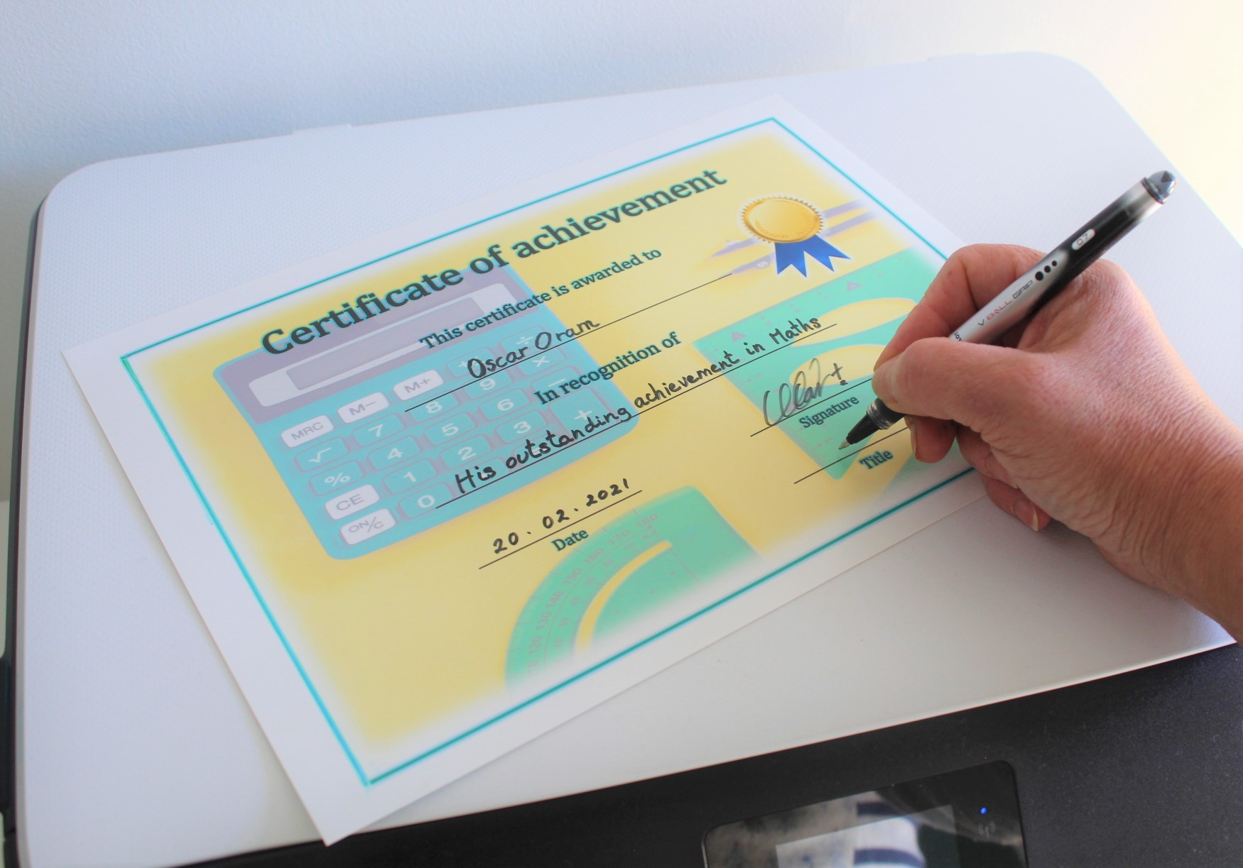 Completing the certificate by hand