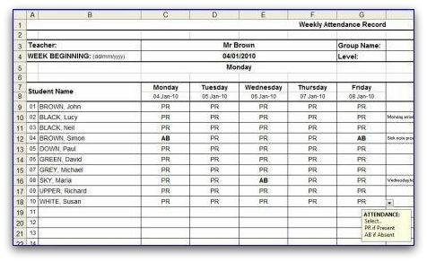 Weekly attendance sheet for School register template spreadsheet