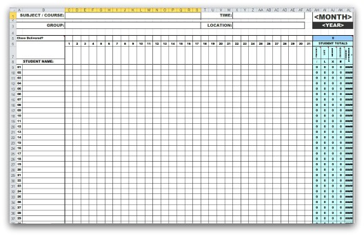 Monthly Attendance Templates in MS Excel – School Attendance Template