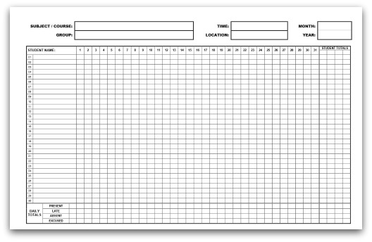 Printable Blank Attendance Sheet Template Pictures to Pin on – Weekly Attendance Template