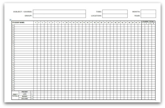 Printable attendance calendars for School register template spreadsheet