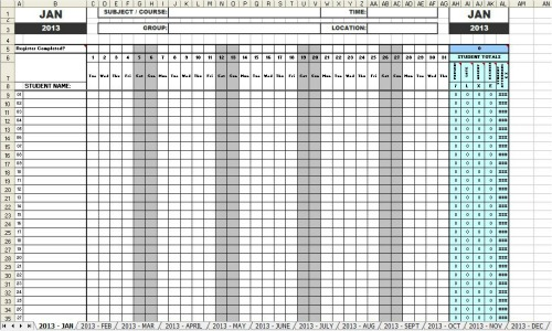Attendance sheets 2013 for School register template spreadsheet