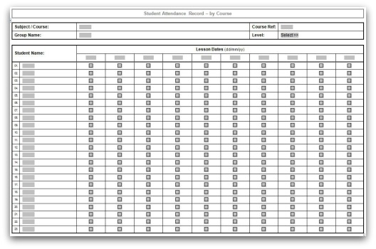 Click here to download the Course Attendance Template in MS Word format