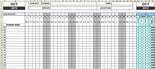 attendance sheet printable