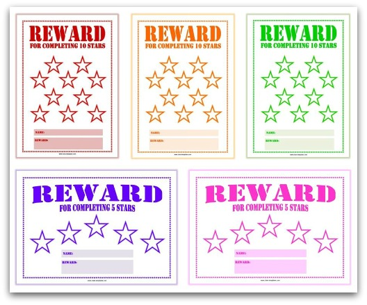 star chart for kids template - free printable reward charts