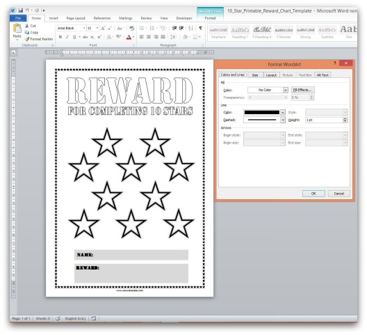 Reward Chart Template in Microsoft Office Word