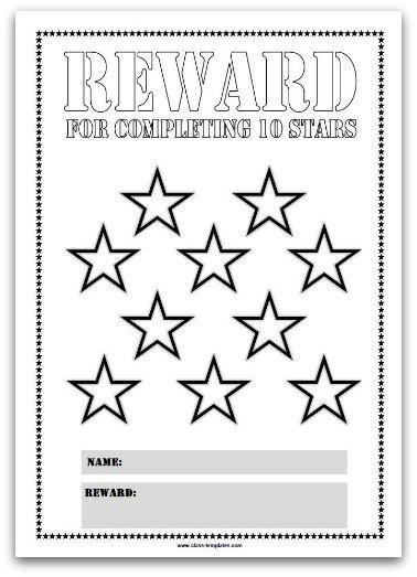 10 Stars Printable Reward Chart Template