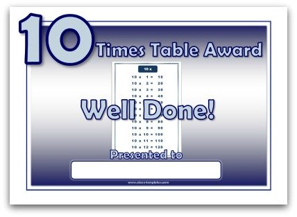 10 times table award certificate template
