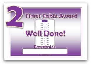 2 times table award certificate template