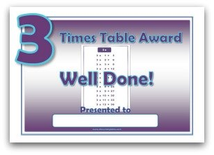 3 times table award certificate template