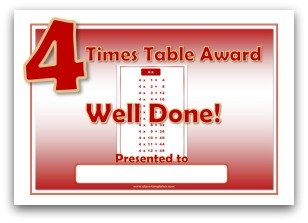 4 times table award certificate template