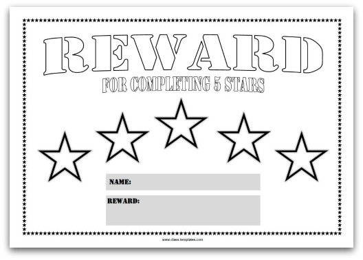 5 Star Reward Chart Template