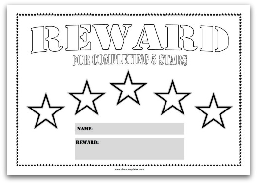 5 Star Reward Chart for Kids Blank Template