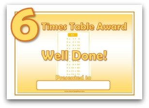 6 Times Table Award Certificate Template  Certificates Templates