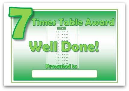 7 times table award certificate