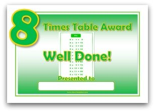 8 times table award certificate template