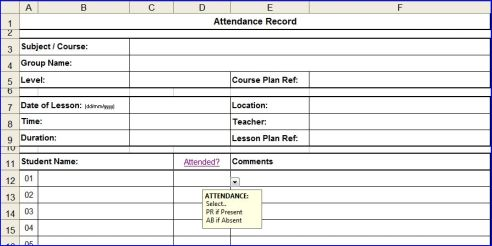 Attendance Sheets for Excel  Excel Templates Calendars