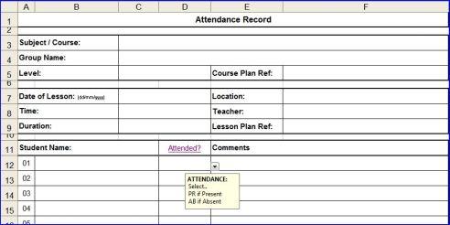 Microsoft Excel Attendance Sheet  Template