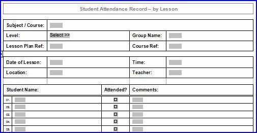 Printable Lesson Attendance Sheet